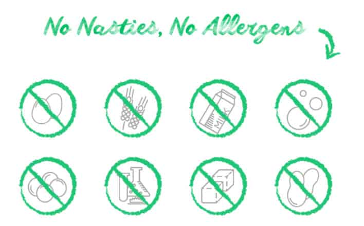 no nasties, no allergens