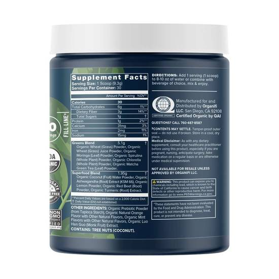 Organifi Green Juice supplement facts
